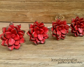 SET OF 4 - Distressed Red Flower Knobs - Lotus Daisy or Rose - Unique Resin Molded Floral Knob - Country Rustic Red