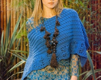 Crochet poncho PATTERN, asymmetric boho poncho crochet pattern, CHART and basic instructions in English, charts are not described in words!