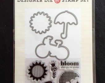 Dies and Clear Stamp Set, Bloom Where You Are Planted, 3 Dies and 10 Clear Stamps, Scrapbooking, Card Making, Echo Park Paper Co