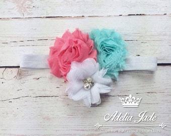 White Elastic Baby Headband, White, Teal and Coral Flower Baby Headband, Baby Headband, Elastic headband