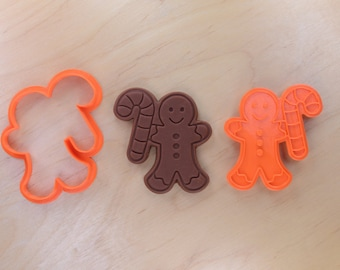 Gingerbread Man with Candy Cane Cookie Cutter and Stamp Set