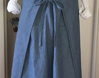 Indigo Chambray, Wrap Dress, Apron Dress, Japanese Style, Smock, Pinafore, Tunic, One Size for S/M/L