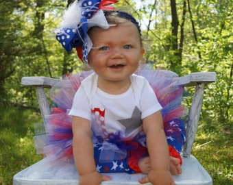 baby girl first fourth of july outfit - Girls fourth of july outfit - 4th fourth of july tutu - red white and blue -  4th of july headband