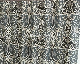 Fabric Shower Curtain Ikat Shower Curtain Midnight Ivory Grey Black Extra Long  Shower Curtain 72 X