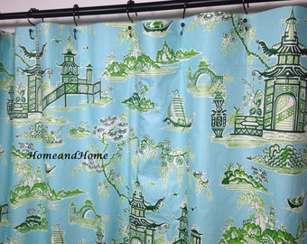 Good Toile Shower Curtain Waverly Green Ivory Sky Blue 72 X84 90 96 108 Extra  Long Shower