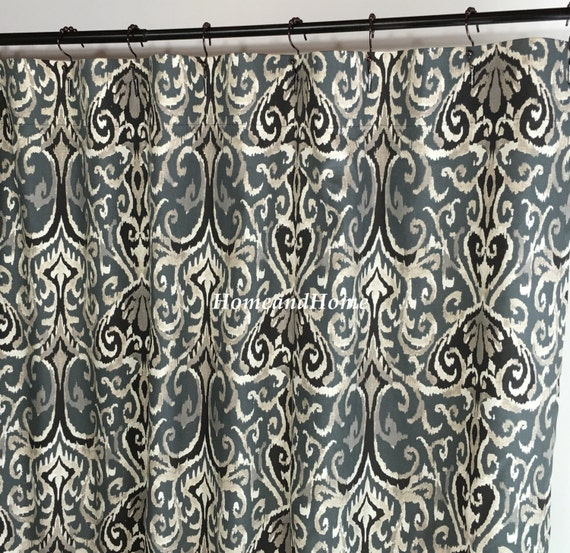 Fabric Shower Curtain Winchester Ikat Midnight Ivory Grey