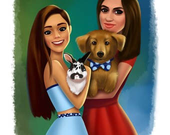 Custom family potrait with pet, art commission, commissioned portrait - digital file