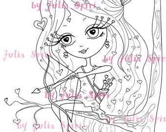 Digital Stamps, Digi stamp, Coloring pages, Valentin stamp, Love stamps, Heart, In Love, Romantic. Love is in the Air Collection. Valentina