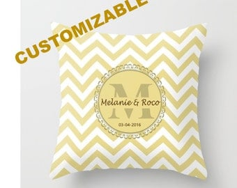 Decorative Throw Pillow - 4 different sizes, With, Without, Inserts, Indoors, Outdoors, Monogram, Initials, Names, Date, Chevron, Classic