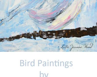 Blue Acrylic Chickadee Painting. Animal Art Gift for Her. 146
