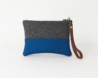 Gray and Blue Wool Felt Zipper Wristlet | Felt Pouch