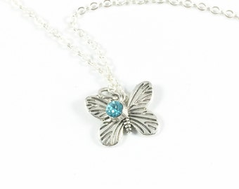Butterfly Necklace Silver Butterfly Necklace Butterfly Pendant Necklace Butterfly Jewelry In Remembrance Gifts Loss of Mom Loss of Grandma
