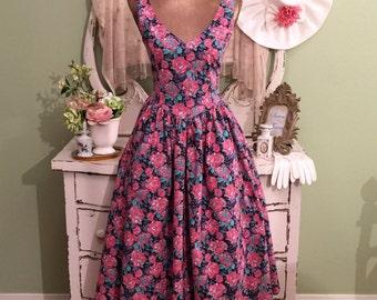 50s Style Dress, Pink V Neck Dress, Sleeveless Day Dress, XS/S, Cotton Princess Dress, Pink & Teal Dress w Full Skirt, Vintage Laura Ashley