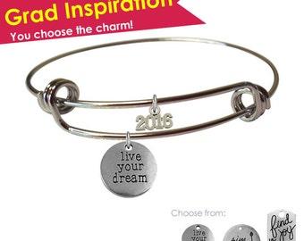 Graduation Bracelet Gift- Live Your Dream Bracelet- Aim High Bracelet- High School Graduation Gift for Her- Graduation Jewelry- College Grad