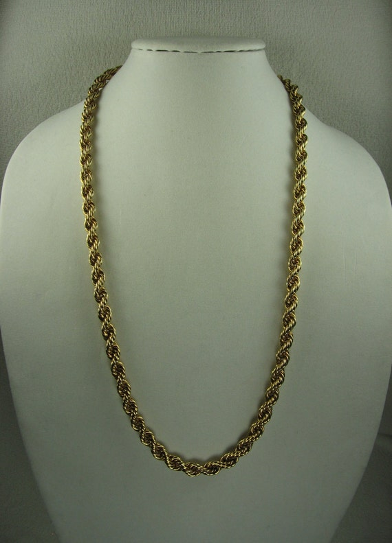 napier rope necklace in gold tone by vintagesparkleybits