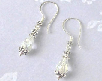 Sterling Silver Crystal Drop Earrings Vintage Boho Wedding Jewelry for Bride, Bohemian Bridal Jewellery, Gift for Her, Bridesmaid, Birthday