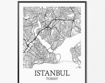 Istanbul Map Art Print, Istanbul Poster Map of Istanbul Decor, Istanbul Map Art, Istanbul Gift, Istanbul Turkey Art Poster