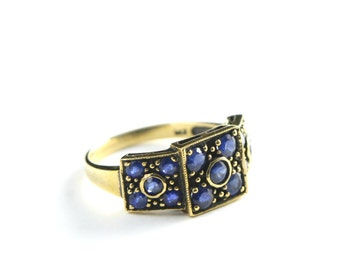Sapphire ring in antiqued black oxidized 9 carat gold ring for her UK