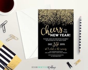 Cheers! New Year's Eve Party Invitation // 5x7 // Black & Gold // Custom Invitation // Cheers to the New Year!