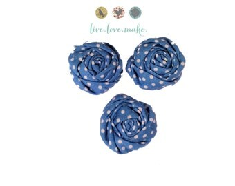 "1.5"" Blue-French Blue-Polka Dot-Mini Rolled Fabric Rosettes-Rosette-Fabric Flower-Rolled Rosette-Rose-Shabby Chic-small-petite-mini-cotton"