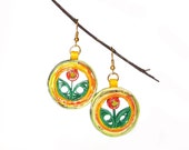 Orange flower Earrings Paper Eco-Friendly 1st anniversary gift Ohrringe boucles d'oreilles lightweight