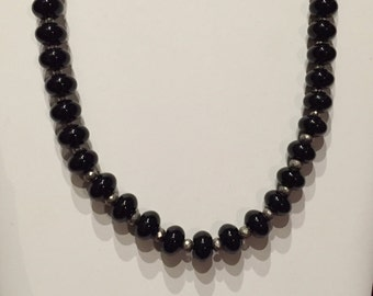 Black Onyx and Silver Pyrite Necklace