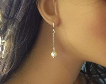 Silver Pearl Earrings, Drop Earrings Silver, Long Casual Earrings, Pearl Gift, Single Pearl Earring, Wedding Jewelry for Brides, Balm Design