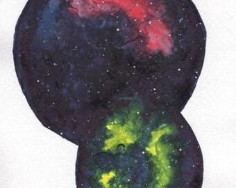 Galaxy Dreams - ACEO print watercolor