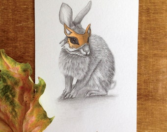 Rabbit in a Fox Mask — ORIGINAL drawing