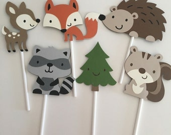 Woodland Animals Cupcake Toppers | Woodland Party Decor | Woodland Critters | Woodland Cupcake Toppers | Animal Party Decor
