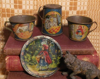 Little Red Riding Hood Antique Children's Toy Tin Lithograph Dishes Ohio Art Co,