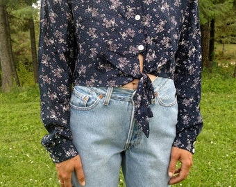 Vintage Cropped Floral Button Down Top