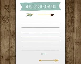 Baby Shower Advice Card - Boys Adventure Arrows