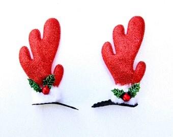 Reindeer Ears, Reindeer Hairclip, Reindeer Antlers, Antler Headband, Christmas Headband, Christmas Antlers, Xmas Headband, Christmas, Antler