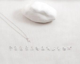Zodiac Symbol necklace. Sterling silver. Astrology. Aries Taurus Gemini Cancer Leo Virgo Libra Scorpio Sagittarius Capricorn Aquarius Pisces