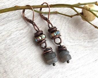 Labradorite earrings   Artisan earrings  Dangle earrings Copper  Wire Wrapped earrings