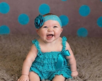 Teal Petti Lace Romper, Lace baby romper, Baby girl romper
