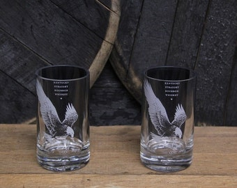 Pair of Eagle Rare Cups - Bourbon Bottle Drinkling Glasses - Upcycled Bottles, Hand Cut Drinking Glass, Unique Drinkware, Handmade Cup, Gift