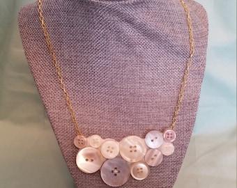 Cream and Khaki Button Bib Necklace