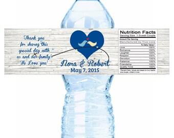 20 Rustic Wedding Water Bottle Labels - Rustic Wedding - Wedding Decor - Personalized Water Bottle Labels - Bottle labels - Hearts - Birds