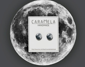 Moon stud earrings Full Moon stud earrings Planet Space Moon Jewelry Gift for her