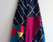 SALE. Unique culottes, wide leg trousers, Upcycled multi coloured cotton. Handmade gift. For her.