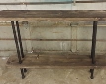 Rustic Wood and Steel Pipe Bar || Console Table || Entertainment Centre || Pipe Shelving Unit ||
