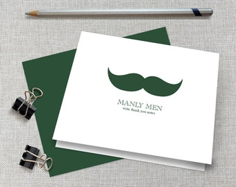 Men's Mustache Thank You Cards / Men's Mustache Note Cards / Masculine Stationery / Masculine Stationary / Father's Day Mustache Cards