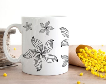 Coffee Mug Minimalist Black and White Flower Coffee Cup - Minimalist Coffee Cup