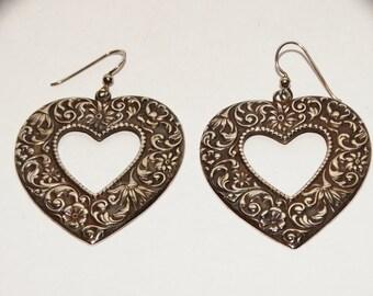Vintage Sterling HUGE Handmade Dangling Heart Earrings.