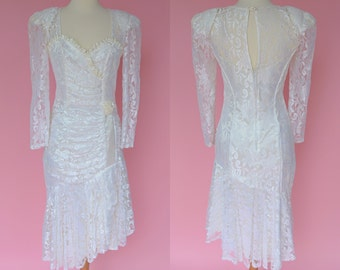 Vintage White, 80s Prom, Wedding Dress // 1980s, Party Dress ,Cream Lace, Women's Size Small