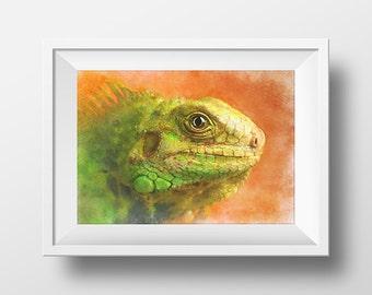 Iguana/ Lizard/ Watercolor Art/ Digital Art/ Printable Art/ Animal Art/ Iguana Art/ Watercolor Print Art/ Iguana Watercolor Digital Print