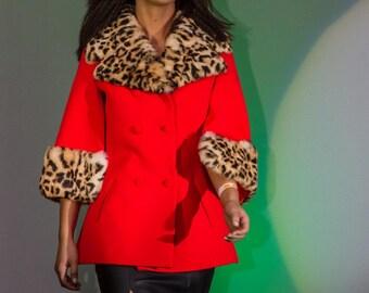 Lilli Ann leopard print fur coat