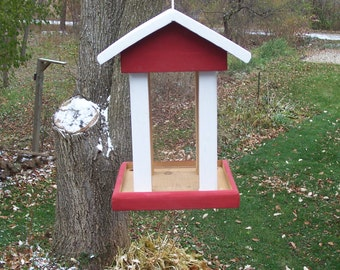 Large,Hanging Bird feeder with Large Platform Built from Cedar wood.